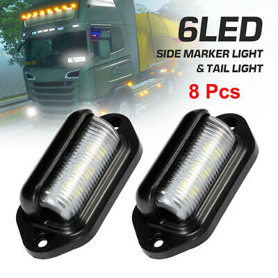 8 Pcs 6LED License Number Plate Light Tail Rear Lamp Fit For Truck Trailer Lorry