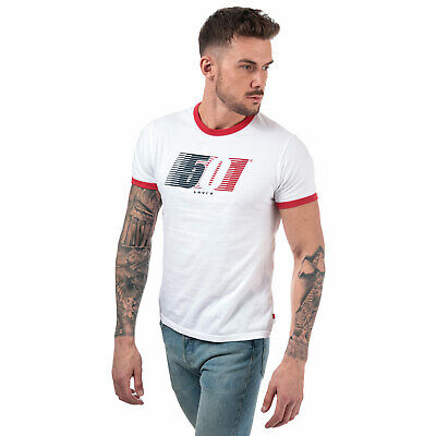 Mens Levis Ringer Retro Logo T-Shirt In White- Short Sleeve- Ribbed Collar And
