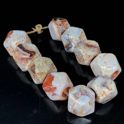 Ancient China Natural weathering old agate Chicken bone white Octagonal bead