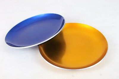 2 x CATHRINE HOLM NORWAY 18cm Blue Gold GEOMETRIC FEATHER ENAMEL PLATES DISHES