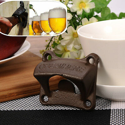Vintage Rustic Style Cast Iron Wall Mounted Beer Bottle Opener Novelty Tool NEW