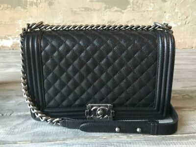 e75e0e3fab3c5b Authentic CHANEL Le Boy New Medium With Receipt Black Caviar Ruthenium  Handbag