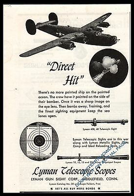 1944 WWII Consolidate B-24 LIBERATOR Lyman Rifle Scope WW II WW2 Partial page AD