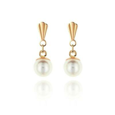 22d928cf1 9ct yellow gold 5mm round cultured pearl Andralok drop earrings / Gift box