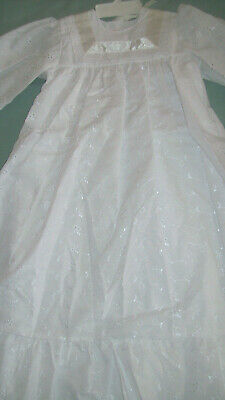 White Broderie Anglaise Lined Christening Dress Gown Robe Bonnet Cotton Blend