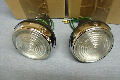 New Jaguar Mk2 Daimler V8 Xk150 Clear Indicator Flasher Lamps Pair