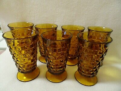 Indiana Glass Colony Whitehall Amber Stacked Cube 10 Oz.glasses-Set Of 7-Euc