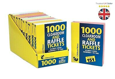 RAFFLE TICKETS BOOK Cloakroom Tombola Draw Security Coded Numbered 1-1000