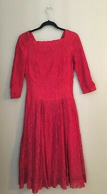a77ed29c003 VINTAGE BOMBSHELL FUCHSIA Cocktail Dress Ruby Red Satin Velvet sz 10 ...