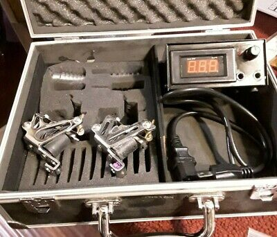 Nice Black Case with 2 Tattoo Machine Plus Power Supply Cords & Supply & Needles