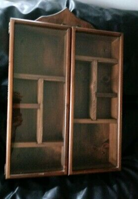 Antique Wood Curio Cabinet Double Glass Doors Brass Hinges Wall Ohio Amish