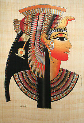 "Egyptian Papyrus - Hand Made - 16"" x 24"" - Ancient Art Form- Queen Cleopatra"