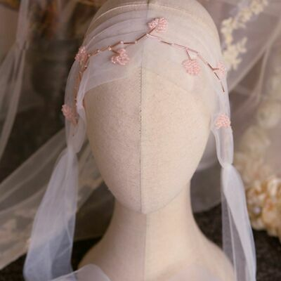 Fashion Romantic Pink Beading Wedding Veil White Beads Bridal Tulle High Quality