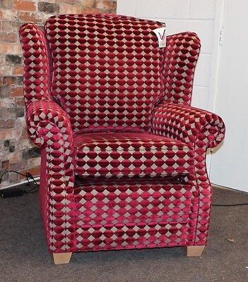 Washington Fireside Wing Back Armchair In Red & Gold Patterned Fabric