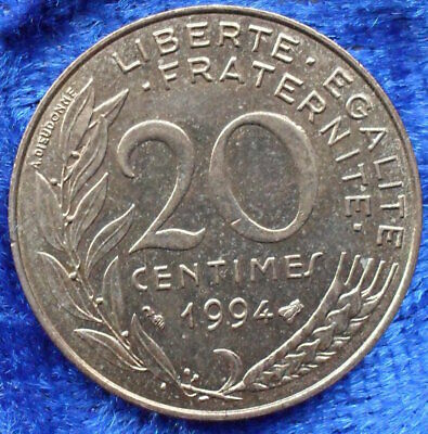 FRANCE - 20 centimes 1994 KM# 930 Fifth Republic Franc Coinage - Edelweiss Coins