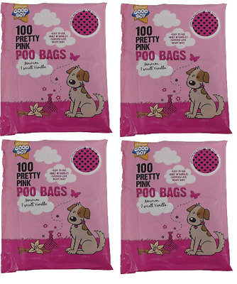 Armitage Good Boy Pink Dog Poo Poop Waste 400 Bags 4 x 100pk- Scented with Tie H