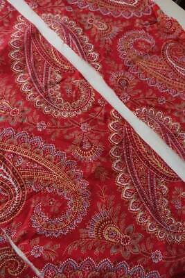 9 pces antique Victorian cotton red paisley fabric - 3 different designs 0.75yd