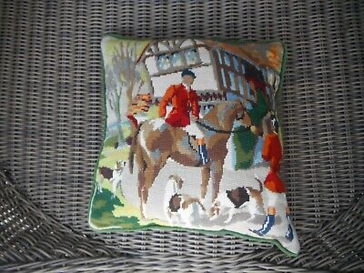 Quality Vintage tapestry cushion depicting huntsman and hounds feather heavy