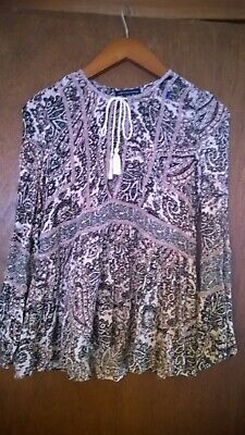 American Eagle Woman's XS Boho Chic  Bell Sleeve Velvet Trim Paisley Tunic
