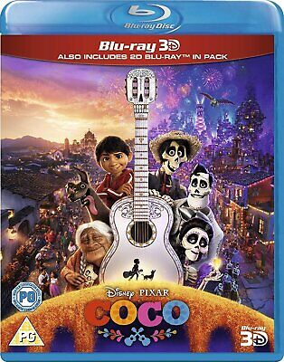 Disney Pixar Coco [3D + 2D Blu-ray Region Free Animated Family Musical] NEW