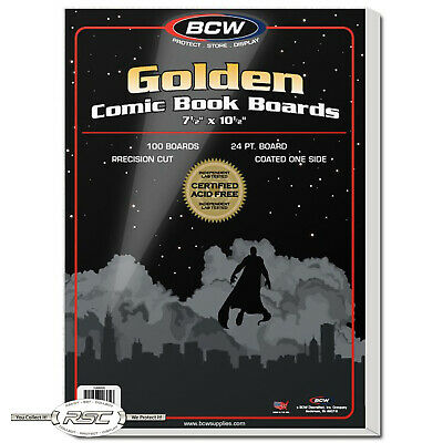 "100 - BCW Golden Age 24-Pt. Comic Book Backing Boards - 7-1/2"" x 10-1/2"""