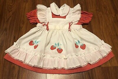 Vintage Kids Ruffle Lace Frilly Pinafore Apron Party Dress Strawberry 3 Toddler
