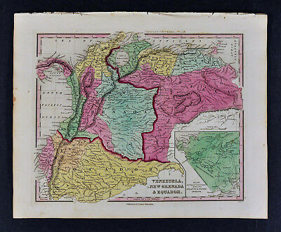 1840 Henry Tanner Map Venezuela Colombia Equador Granada South America Medellin