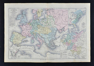 1885 Drioux Map - Europe 1715-1789 - France United States India Germany Antilles