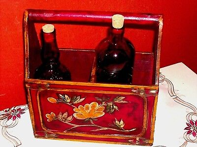 Vintage Country French Style Wooden Box Flowers Hand Painted 2 Old Bottles RARE