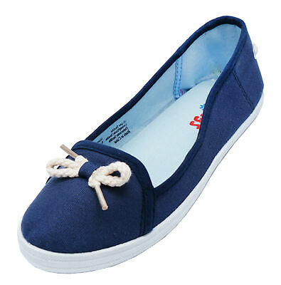 Ladies Navy Nautical Canvas Flat Slip-On Plimsoll Pumps Comfy Casual Shoes 3-6
