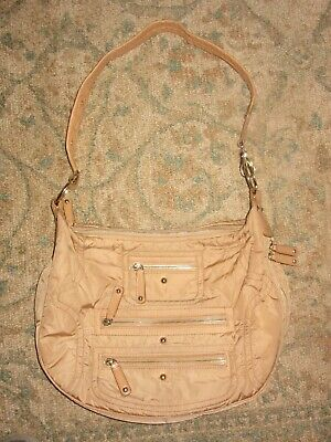 be4ddc0e7f9 TOD'S PASHMY SATCHEL Bag Taupey Military Green Nylon & Brown Leather ...