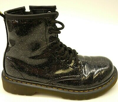 f624aadb53a6 Dr Martens Kids 1460 8-Eye Black Glitter Punky Patent Leather Boots Size 1