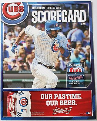 2015 Chicago Cubs vs Washington Nationals Scorecard Dexter Fowler Cover Wrigley