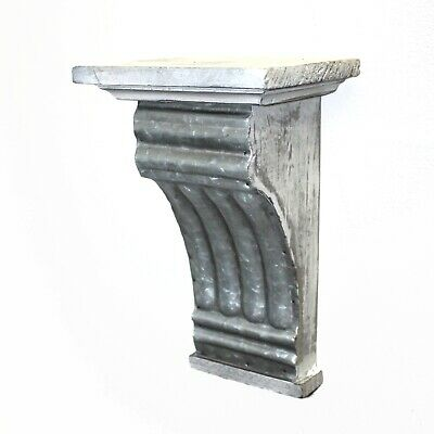 Corbel or Shelf Bracket of Aged Gray Wood with Stamped Tin Front Ribbed
