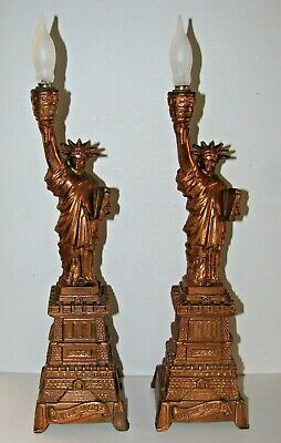 Pair Vintage 1940's Statue Of Liberty Lamp New York USA Copper Clad AS-IS