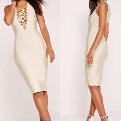 ff23744eee5 Missguided Premium Bandage Lattice Front Gold Ring Midi Dress White (ca234)