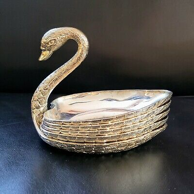 1970's Swan Stackable Metal  Ashtray, the Swan holds 4 matching ashtrays.