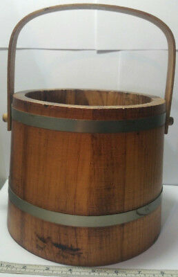 Vintage Primitive Wooden Bucket Wood Bail & Pegs 2 Metal Bands. Solid Good Cond.
