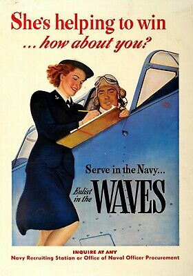 MAGNET Military Poster Magnet US Navy WAVES WW2