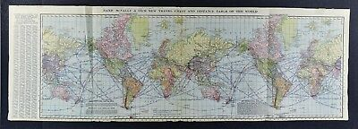 1907 Rand McNally World Map - Travel Chart - Steamer Routes & Distances - 14x42""
