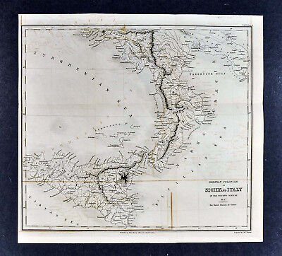 c 1850 Murray Map - Greek Colonies in Sicily Italy 4th c. BC - Syracuse Heraklea