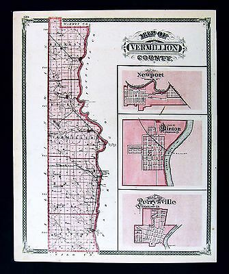1876 Indiana County Map - Vermillion Newport Clinton Perrysville Plan Highland