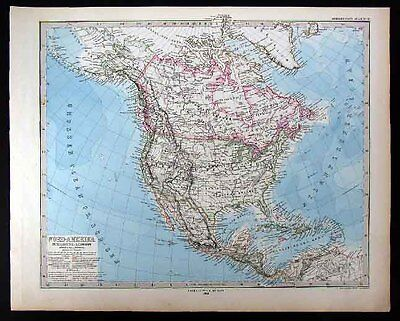 1880 Stieler Map - North America United States Canada Mexico West Indies Alaska