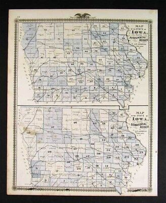 1875 Iowa Political Map - State Congressional Districts