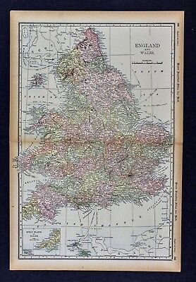 1891 McNally Map - England & Wales London Oxford Liverpool Bristol Lands End UK