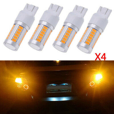 4x T20 Yellow 7443 7440 5630 33-SMD LED Lamps Car Backup Reverse Light Kit 800LM