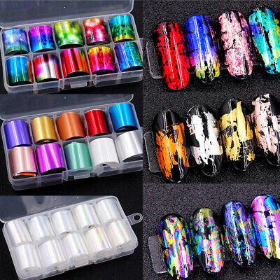 Holographic Nail Foils Stickers UV Gel Adhesive Art Decals Manicure DIY Supplies