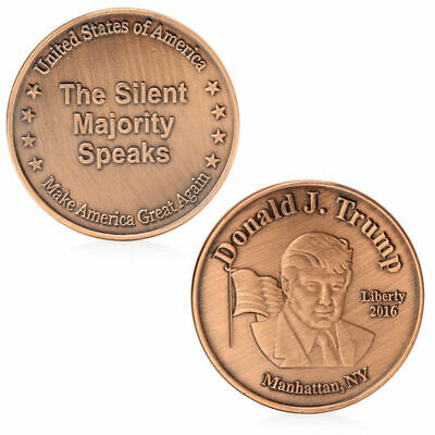 US 45th President Donald Trump Commemorative Coin 2016 THE SILENT MAJORITY SPEAK