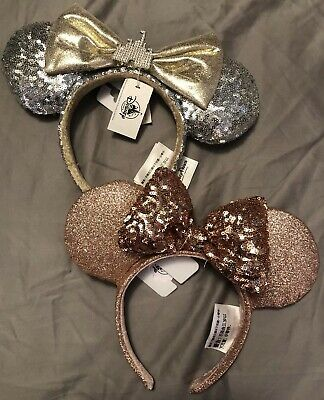 Disney Parks Minnie Mouse Ears Headband Briar Rose Gold And Silver Sequin Castle