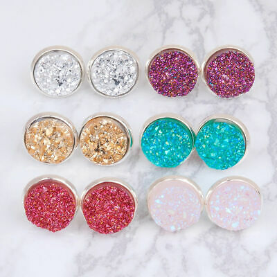 Fashion Colorful Druzy Ear Post Stud Earrings Round Silver Plated W/ Stoppers